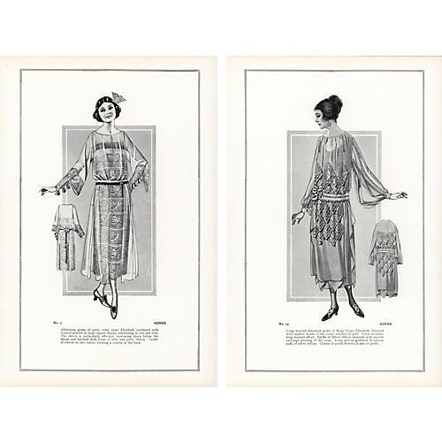 Haute CoutureFashionPrints, Pair, 1922