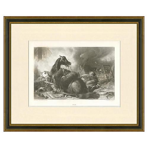 War Scene Engraving, 1854