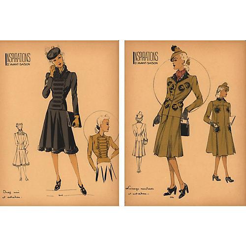 French Fashion Prints, Pair, 1940