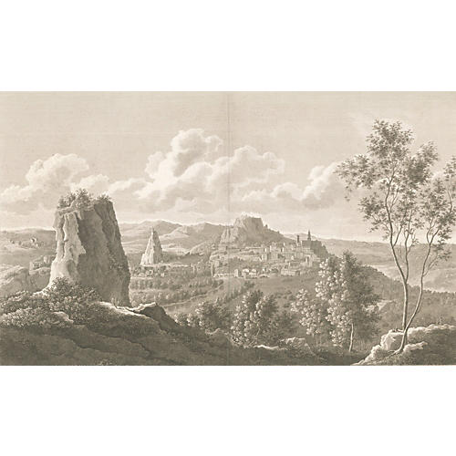 French Scene of Le Puy-en-Velay, 1820