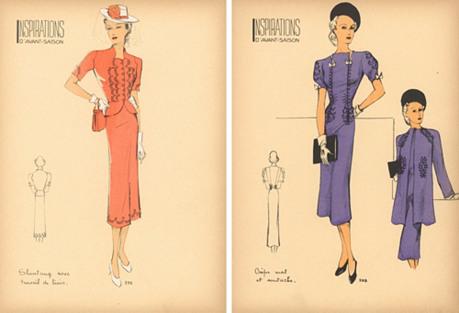 French Fashion Prints, Pair, 1941