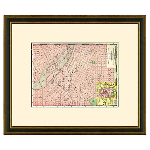 Framed Antique Minneapolis Map 1886-1899