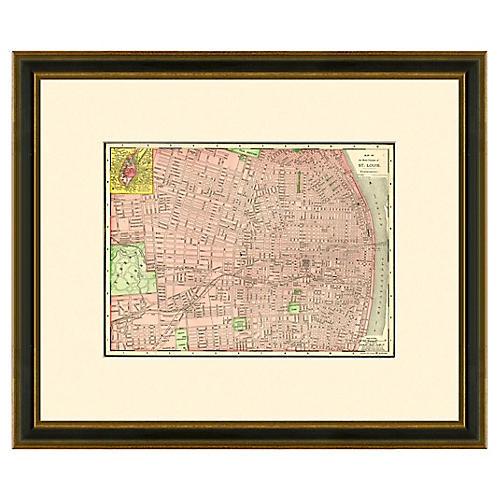 Framed Antique St. Louis Map, 1886- 1899