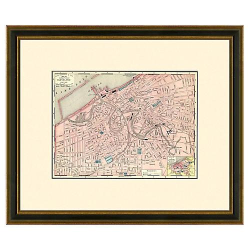 Framed Antique Cleveland Map, 1886- 1899