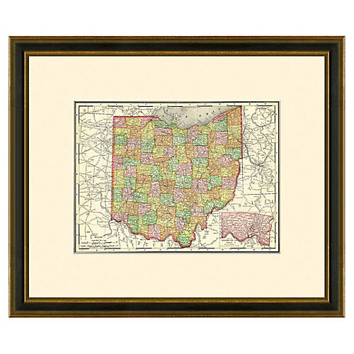 Framed Antique Map of Ohio, 1886-1899