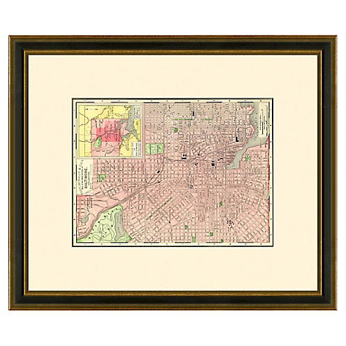 Framed Antique Baltimore Map, 1886-1899