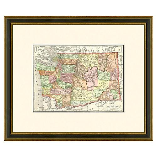 Framed Antique Washington Map, 1886-1899