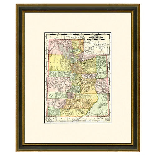 Framed Antique Map of Utah, 1886-1899