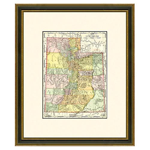 Framed Antique Map of Utah, 1886-1899