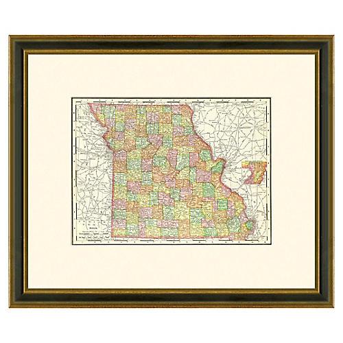 Framed Antique Map of Missouri 1886-1899