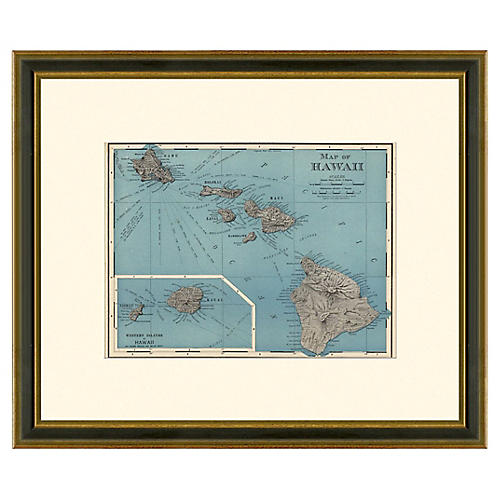Framed Antique Map of Hawaii, 1886-1899