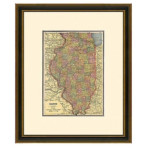 Framed Map of Illinois, 1894-1899