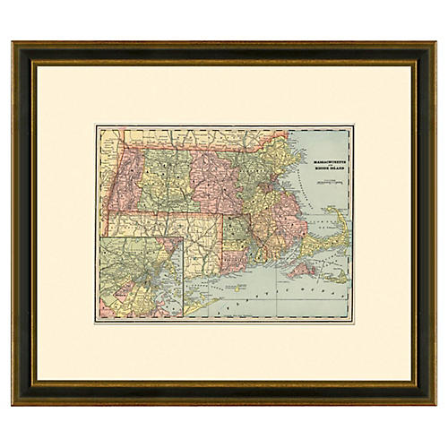 Framed Antique MA and RI Map, 1894-1899