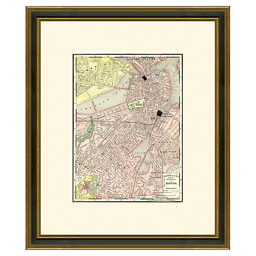 Framed Antique Map of Boston, 1886-1899