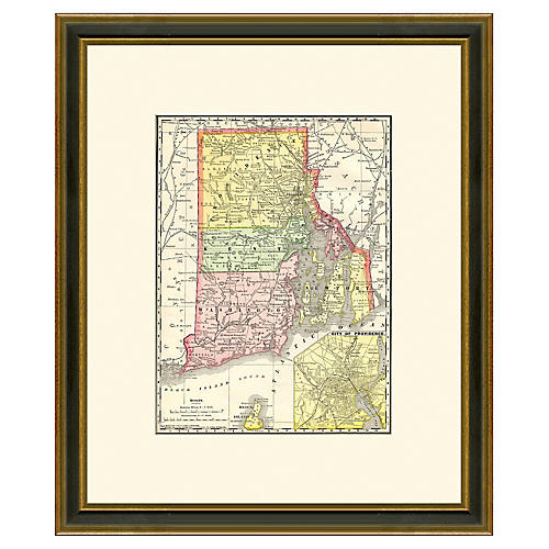 Framed Antique Map of RI, 1886-1899