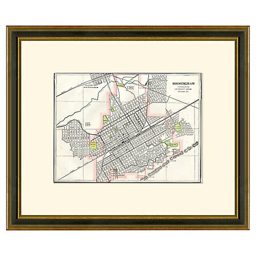 Framed Antique Birmingham Map, 1894-1899