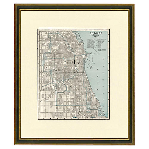 Framed Antique Map of Chicago, 1894-1899