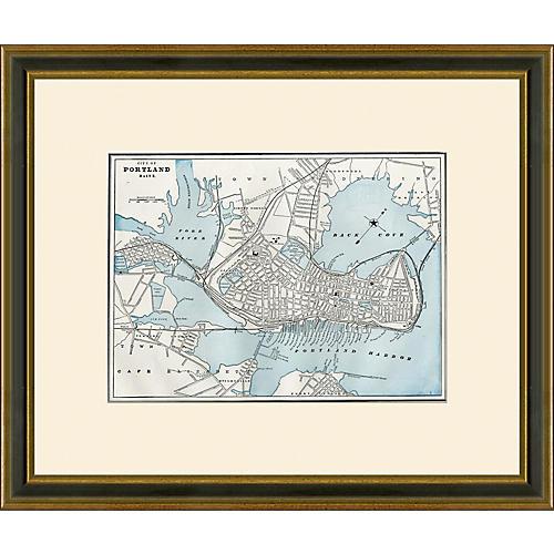Framed Antique Map of Portland 1894-1899