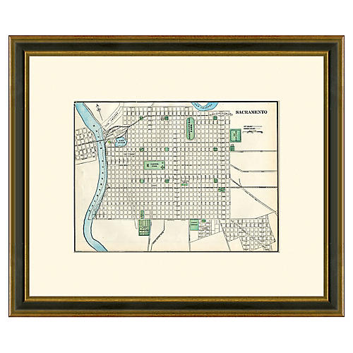 Framed Antique Sacramento Map, 1894-1899