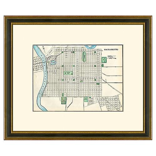Framed Antique Sacramento Map, 1894-1899