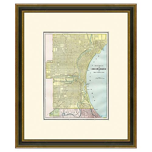 Framed Antique Milwaukee Map, 1894-1899