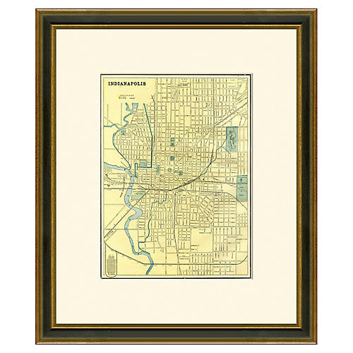 Framed Antique Map of Indianapolis, 1899