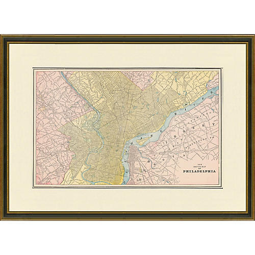Framed Antique Map of Philadelphia, 1899