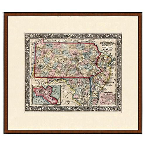 Antique Framed PA, NJ, MD, DE Map, 1853