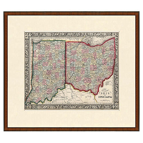 Framed Antique Indiana & Ohio Map, 1853
