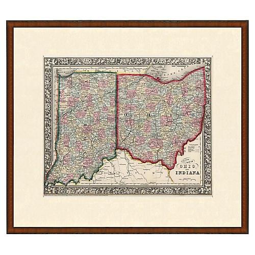 Framed Antique Indiana & Ohio Map, 1853