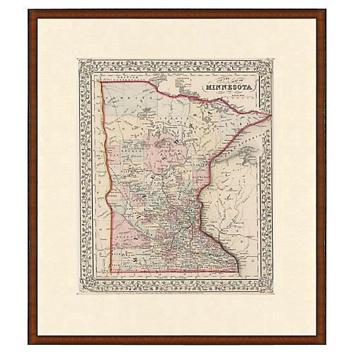 Framed Antique Map of Minnesota, 1853