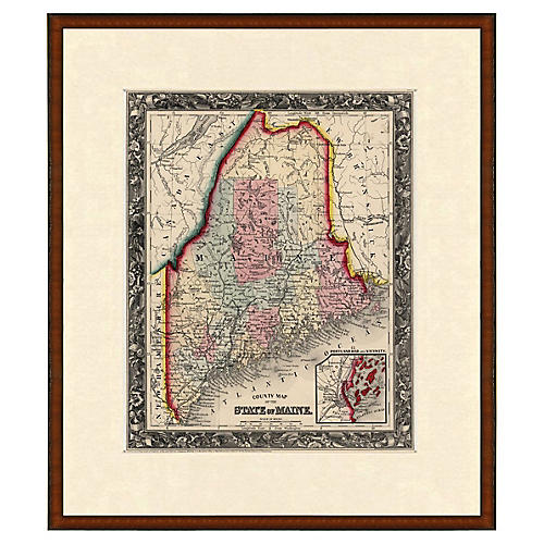 Framed Antique Map of Maine, 1853