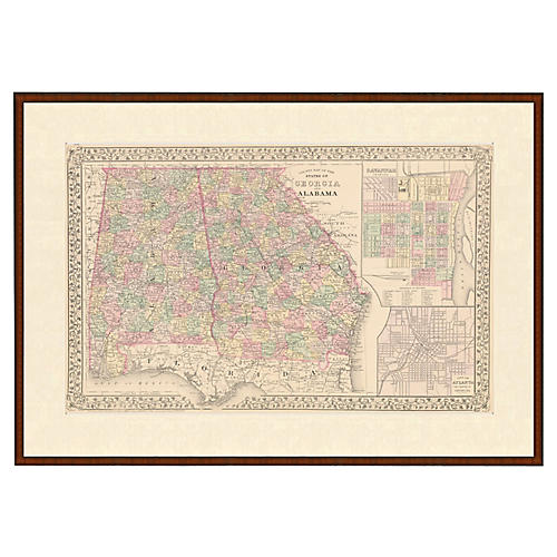 Framed Antique Map of AL & GA, 1853
