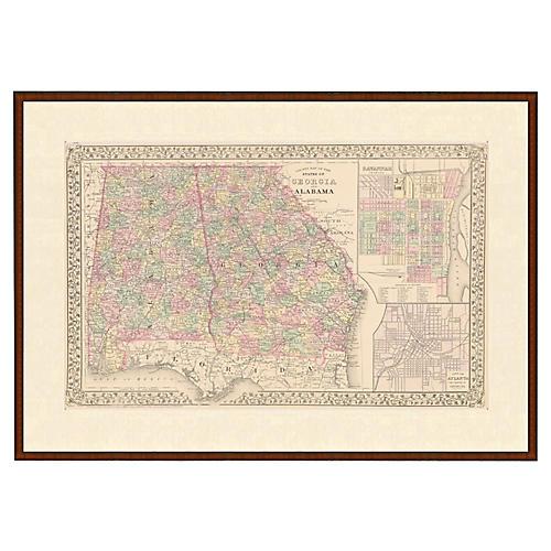 Framed Antique Map of AL & GA, 1853