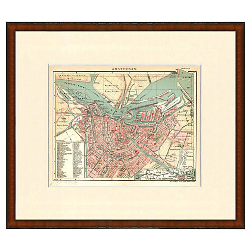 Framed Map of Amsterdam, 1899