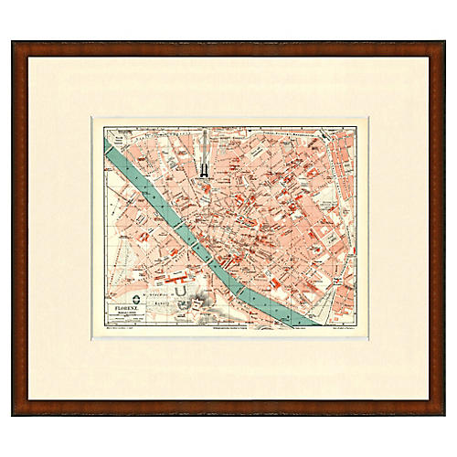 Framed Antique Map of Florence 1899