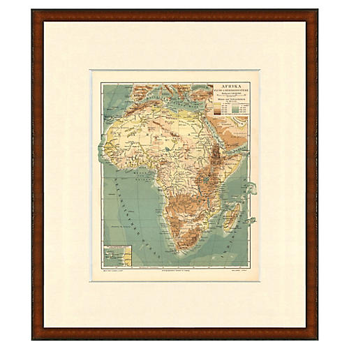 Framed Antique Map of Africa, 1899