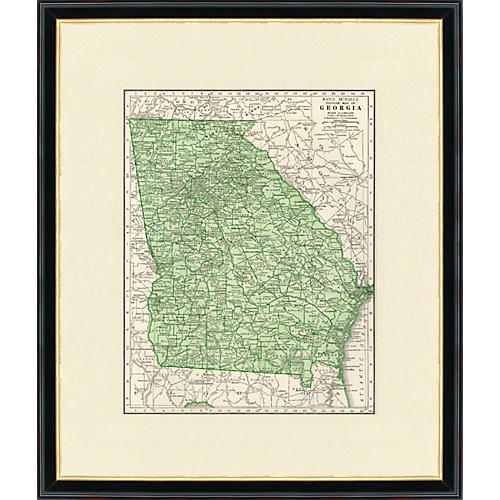 Framed Map of Georgia, 1937