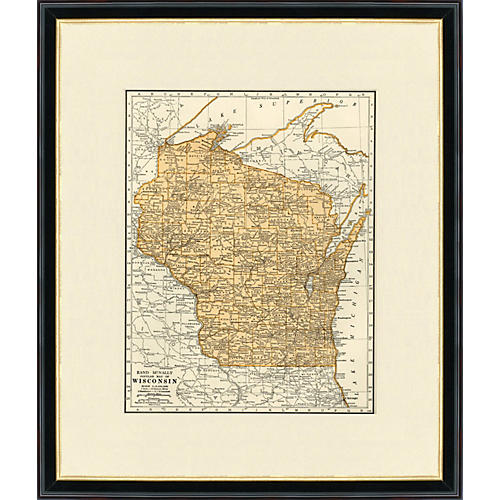 Framed Map of Wisconsin, 1937