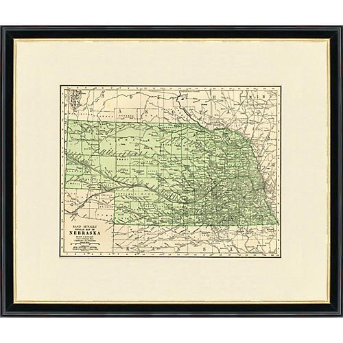 Framed Antique Map of Nebraska 1937