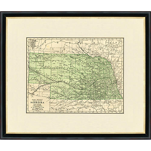 Framed Antique Map of Nebraska 1937