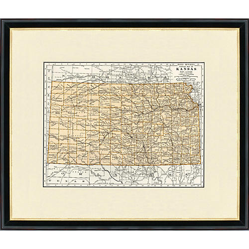 Framed Map of Kansas, 1937