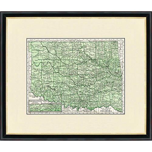 Framed Map of Oklahoma, 1937