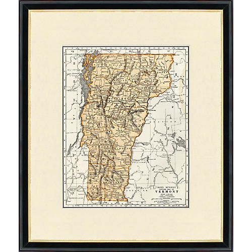 Framed Map of Vermont, 1937