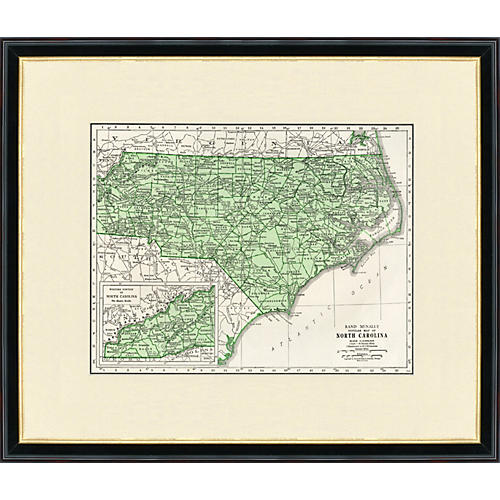 Framed North Carolina Map, 1937