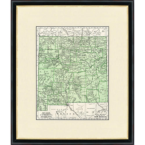 Framed Map of New Mexico, 1937