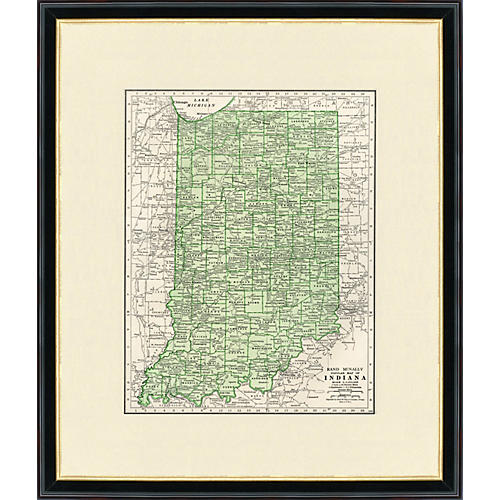 Framed Map of Indiana, 1937