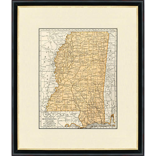 Framed Map of Mississippi, 1937