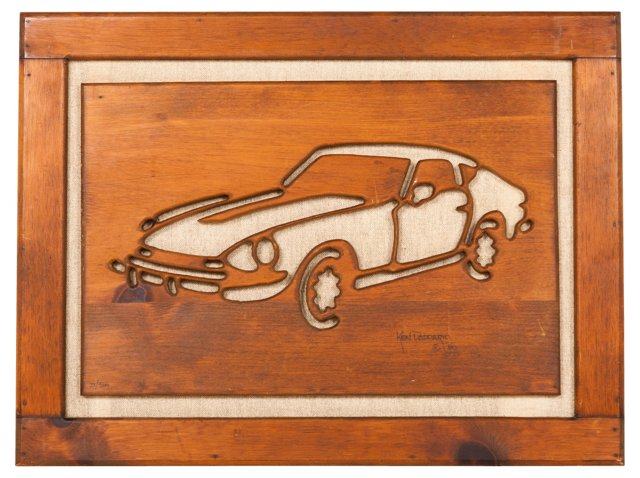 Midcentury Wood Carving of a Car