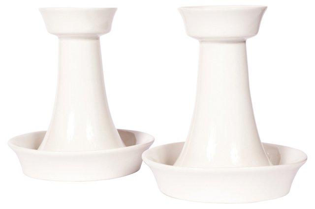 Finnish Ceramic Candleholders, Pair